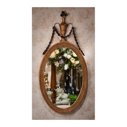 """Dessau Home - Oval Mirror w Urn Finial - Made from iron and wood. Gold and bronze color. 22 in. W x 48 in. HValue has always been an essential ingredient at Dessau Home. """"Essentials"""" represents a collection of well-appointed yet affordable home furnishings with a unique traditional styling that appeals to most transitional and contemporary home decorating needs."""