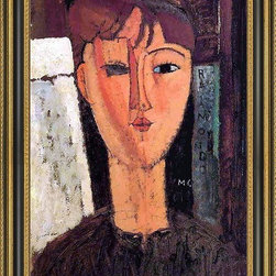 """Art MegaMart - Amedeo Modigliani Raimondo - 16"""" x 24"""" Framed Premium Canvas Print - 16"""" x 24"""" Amedeo Modigliani Raimondo framed premium canvas print reproduced to meet museum quality standards. Our Museum quality canvas prints are produced using high-precision print technology for a more accurate reproduction printed on high quality canvas with fade-resistant, archival inks. Our progressive business model allows us to offer works of art to you at the best wholesale pricing, significantly less than art gallery prices, affordable to all. This artwork is hand stretched onto wooden stretcher bars, then mounted into our 3 3/4"""" wide gold finish frame with black panel by one of our expert framers. Our framed canvas print comes with hardware, ready to hang on your wall.  We present a comprehensive collection of exceptional canvas art reproductions by Amedeo Modigliani."""