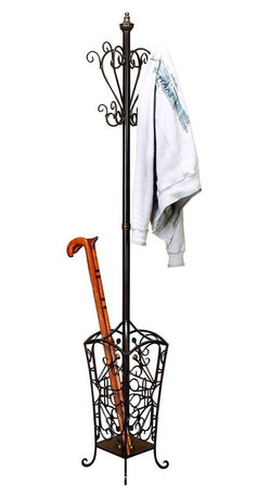 Benzara - Metal Coat Rack with A Net Basket At Bottom - Today, everyone wants decor potential even in small utility items. Many small items of daily use have become the decor piece. One such item is 56471 Metal COAT RACK that is needed in every family. It comes with a net basket at the bottom that is used to place hand sticks or umbrella.