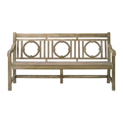 Kathy Kuo Home - Classic English Garden Outdoor Lesgrave Bench - Nothing says traditional style quite like an English Country Garden.  This charming garden bench made from concrete construction is tough enough to live outdoors, yet stylish enough that you'll wish it would come indoors.  Generously proportioned, this classic piece is the perfect place to enjoy the pleasures of the outdoors.