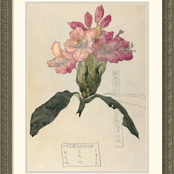 Amanti Art - Rhododendron, 1915 Framed Print by Charles Rennie Mackintosh - Best-known for his modernist architecture, Mackintosh became an artist late in life and continued to eschew Victorianism in favor of sleek, spare designs.