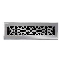 """Brass Elegans 120A PWT Brass Decorative Floor Register Vent Cover - Victorian Sc - This pewter finish solid brass floor register heat vent cover with a victorian scroll design fits 2 1/4"""" x 10"""" x 2"""" duct openings and adds the perfect accent to your home decor."""