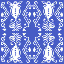 Pineapple Ikat Fabric, Blue - Spoonflower has a bunch of rad pineapple prints. This ikat one mixes two trends in a way that works, and you can get it in either fabric or wallpaper.