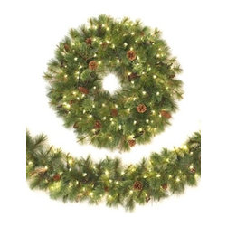 Monaco Spruce Led Pre-Lit Wreath and Garland - SPREAD THE HOLIDAY CHEER WITH OUR MONACO SPRUCE LED WREATH AND GARLAND