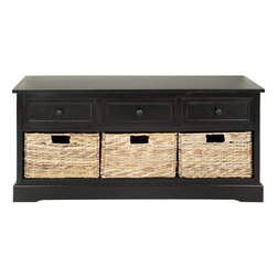 Safavieh - Cato Storage Unit - Keep clutter tucked away in the Cato 3-drawer storage unit offering stylish organization for entryways, family rooms and bedrooms. Crafted of sturdy pine with a distressed black finish, Cato offers three handy drawers for smaller items above three ample wicker baskets that slide in and out for easy use. Minor assembly required.
