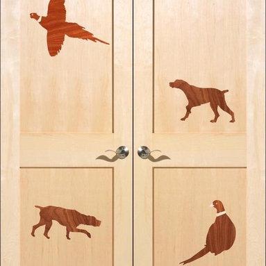 Veneer Inlay Doors - Veneer Inlay interior stile & rail door with wildlife design