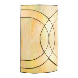 TIFFANY - TIFFANY Spro Tiffany Wall Sconce X-42196 - Sweeping curved lines in a Dark Bronze finish adds visual interest to this Kichler Lighting wall sconce from the Spyro Collection. The art glass shade uses a combination of honey and amber colored glass for a warm, creamy look.