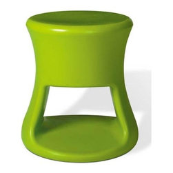 Offi - Offi Tiki Round Top Kids Stool in Green (Set of 7) - Designed by Eric Pfeiffer from Pfeiffer Lab - San Francisco, CA. Made from durable rotationally molded polypropylene. 14 in. L x 14 in. W x 15 in. HHave a party inside and out with this organic form inspired by Tiki mugs and barware from the 60's. This versatile product is great for both kids and adults. It's perfect as a side table or stool, with storage capacity.
