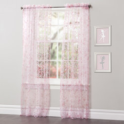 Lush Decor - Lush Decor Briana 84-inch Sheer Curtain Panel Pair - You'll love the sheer elegance of the intricate work of printing and flocking of these Briana curtains. The pink and white flowers create a fresh and fun look that is sure to add comfort to your home.