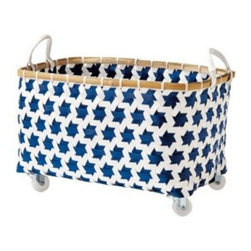 Serena & Lily - Mercado Rolling Basket Navy - Here's an inventive repurposing of plastic pallet strapping and we just love these bins for their versatility and cheery disposition. Get the whole collection in your favorite color, or mix and match for a more playful look. A split bamboo rim adds a warm note.