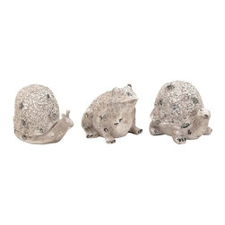 Benzara - Long Lasting Poly Stone Animals - Set of 3 - Enhance your living space with this 6 in. H Durable and Long Lasting Poly Stone Animals (Set of 3). Your corner table in the living room needs this set of animals to offer a natural and elegant look to your otherwise exotic home. Available in a white finish with an antique wash, these animal shapes when kept on a dark base, ensures a bright display of graceful decor. Keep it in your kids room, your bedroom or the patio to fulfill the look of the surroundings. Suitable for any conventional or modern interior setup, this set of 3 assorted animals, snail, turtle and frog are a must have in your home. These animal shapes are crafted to finesse with solid polystone material to offer a long life and durability.