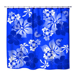 "Surfer Bedding - Eco Friendly Hawaiian ""Aloha Blue"" Hibiscus and Butterflies Shower Curtain - Hibiscus Shower Curtain from our Aloha Hawaiian Surfer Bedding and Bath Collection."