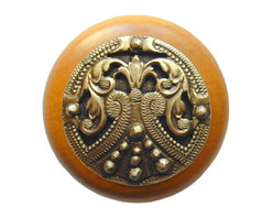 """Notting Hill - Notting Hill Regal Crest/Maple Wood Knob - Antique Brass - Notting Hill Decorative Hardware creates distinctive, high-end decorative cabinet hardware. Our cabinet knobs and handles are hand-cast of solid fine pewter and bronze with a variety of finishes. Notting Hill's decorative kitchen hardware features classic designs with exceptional detail and craftsmanship. Our collections offer decorative knobs, pulls, bin pulls, hinge plates, cabinet backplates, and appliance pulls. Dimensions: 1-1/2"""" diameter"""