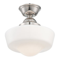 Minka Lavery - Minka Lavery 2257-613 Polished Nickel Semi Flush Mount Light - Opal School House Glass Shade