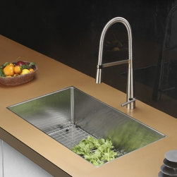 Ruvati - Ruvati RVC2324 Stainless Steel Kitchen Sink and Stainless Steel Faucet Set - Ruvati sink and faucet combos are designed with you in mind. We have packaged one of our premium 16 gauge stainless steel sinks with one of our luxury faucets to give you the perfect combination of form and function.