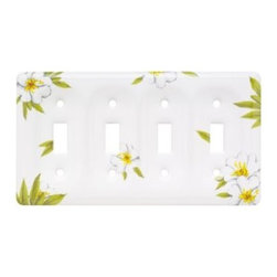 Liberty Hardware - Liberty Hardware 64510 Ceramic WP Collection 4.61 Inch Switch Plate - White - The Liberty Ceramic 4-Gang White Switch Wallplate features an attractive floral design and is kiln fired to help protect its finish. It houses 4 switches and includes mounting hardware for convenient mounting.. Width - 4.61 Inch,Height - 8.5 Inch,Projection - 0.5 Inch,Finish - White,Weight - 0.93 Lbs