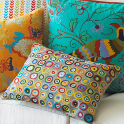 Circles Komang Pillow - If you've been wanting to dip into some bold color but you've been a fraidy cat, get started with this jubilant circles pillow.