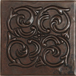 Subtle upgrades - Hand-hammered  copper tile accent in antique (dark brown)color. These tiles have a ceramic tile backer for easy installation. Your choice of many designs.