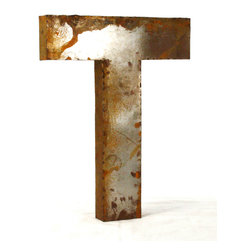 """Kathy Kuo Home - Industrial Rustic Metal Large Letter T 36""""H - Create a verbal statement!  Made from salvaged metal and distressed by hand for an imperfect, time-worn look."""