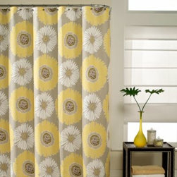 M.style Llc Div Jeffery Fabrics Inc - Bloom 72-Inch x 72-Inch Fabric Shower Curtain - Bloom shower curtain will refresh your bathroom decor. The fresh pattern complements your bathroom with restful tones of taupe ground and yellow.