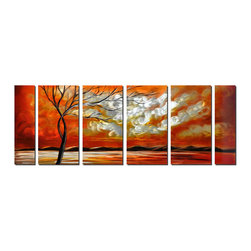 Pure Art - Cotton Clouds and Orange Sky Set of 6 - This oversized wall art is six panels wide and features the deepest shade of orange imaginable, as the sun sets behind distant mountains and puffy clouds reflect the last light of day. The endless feeling captured by the depiction of the horizon is made even more obvious by the bare branched tree in the foreground. Its stark, graceful shape adds perspective.Made with top grade aluminum material and handcrafted with the use of special colors, it is a very appealing piece that sticks out with its genuine glow. Easy to hang and clean.