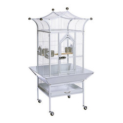 """Prevue Hendryx - Signature Series Small Royalty Wrought Iron Bird Cage - Features: -Signature Series collection. -Available in the following colors: Black, Coco and Pewter. -Stainless steel top ornamental balls. -Easy and secure 12 round socker screw assembly prevents birds from unscrewing. -2 solid wood bird cage perches. -Heavy-duty spring-loaded master door lock. -Rounded corner seed guard. -Pull-out tray and grille with grille-clip. -Solid rubber heavy duty ball casters. -Construction material: Powder coated metal. Specifications: -Exterior dim: 57"""" H x 20"""" W x 20"""" L. -Interior dim: 41"""" H x 19.5"""" W x 19.5"""" L. -Bar spacing: 5/8"""". -Wire gauge: 9 and 12."""