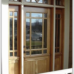 Craftsman wood doors - Mahogany entry door with diamond pattern transom.  Made in USA.