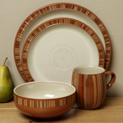 Denby - Denby Fire Stripes 4-piece Place Setting - Raise the temperature with a 4-piece place setting from Denby's Fire CollectionCasual dinnerware is a great addition to any tableSetting includes dinner plate,dessert-salad plate,soup/cereal bowl and mug