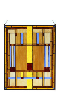 """Paul Sahlin - Arts & Crafts Prairie Stained Glass Panel 1 - This Arts and Crafts Prairie Stained Glass Panel design combines shades of amber, honey and beige earth tones with a vibrant blue. The panel is made using the """"copper foil"""" technique, a method made popular by Louis Comfort Tiffany that involves wrapping the pieces of glass with copper foil and soldering them together along the length of the seams. Ht: 20"""". W: 16"""". The Prairie Stained Glass Panel comes complete with mounting chains. Each example of these hand crafted panels has unique characteristics as no two pieces of glass have the exact same texture, color, shape or clarity."""