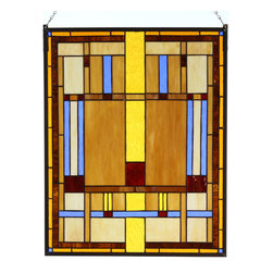 "Paul Sahlin - Arts & Crafts Prairie Stained Glass Panel 1 - This Arts and Crafts Prairie Stained Glass Panel design combines shades of amber, honey and beige earth tones with a vibrant blue. The panel is made using the ""copper foil"" technique, a method made popular by Louis Comfort Tiffany that involves wrapping the pieces of glass with copper foil and soldering them together along the length of the seams. Ht: 20"". W: 16"". The Prairie Stained Glass Panel comes complete with mounting chains. Each example of these hand crafted panels has unique characteristics as no two pieces of glass have the exact same texture, color, shape or clarity."