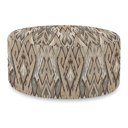 Howard Elliott - Ikat  Universal 36 Round Ottoman - Simple design, infinite uses. 36 Rounds make great side tables, ottomans, alternate seating and more. Constructed by our expert craftsmen, our 36 Rounds are made with a sturdy base and high-density foam.
