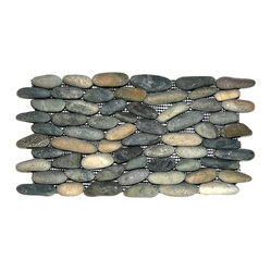 Pebble Tile Shop - Bali Ocean Standing Pebble Tile - These smooth stones make a striking statement on any wall you'd otherwise tile — backsplash, fireplace, swimming pool, you name it. Each polished pebble is carefully chosen for size and color, so you couldn't get a better collection if you beachcombed for them yourself.