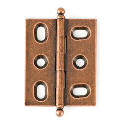 BH2A-OC-BALL solid brass inset cabinet hinge - Cliffside's BH2A hinge offers one of the cabinetmaking industry's tightest reveals. Designed for 3/4-inch inset doors, these solid brass hinges are extruded, rather than stamped, for extra durability. This 2-inch hinge features Cliffside's antiqued Old Copper finish, one of 15 available colors, and the ball-tip finial.