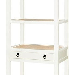 Bungalow 5 Polo Étagère, White - This étagère is one of my favorites. I especially love the small storage drawer, sleek white lacquer finish and shelves lined with whitewashed rattan.