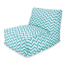 Majestic Home Goods - Teal Chevron Bean Bag Chair Lounger - Add style and functionality to your living room, family room or outdoor patio with the Majestic Home Goods chevron bean Bag chair lounger. This beanbag chair has the design of modern furniture, while still giving the comfort of a classic bean bag. Woven from outdoor treated polyester, these loungers have up to 1000 hours of U.V. protection and are able to withstand all of nature's elements. The beanbags are eco-friendly and feature a zippered slipcover. Spot clean slipcover with mild detergent and hang dry. Do not wash insert.