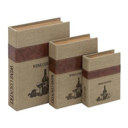 Benzara - Burlap Book Box with Durable and Weather Resistant (Set of 3) - Burlap Book Box with Durable and Weather Resistant (Set of 3). These Set of three boxes are perfect for discreet storage and elegant display. Some assembly may be required.