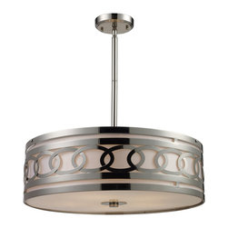 "Elk Lighting - Elk Lighting ELK-10125-5 Zarah Transitional Drum Pendant Light - The Zarah pendant offers modern design elements coupled with high quality craftsmanship. A fabric drum shade provides the backdrop for a polished nickel metal frame and laser cut ovals literally linked together like a chain, this pendant combines cutting edge style and jewelry-like appeal.A frosted white glass diffuser emits a soft yet functional light.(1) 6"" & (2) 12"" extension rods w/ hang straight included."