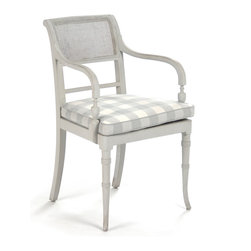 Kathy Kuo Home - Pissarro French Country Antique White Caned Arm Chair - Casual country charm and Old World craftsmanship are featured together in this weathered wood armchair with caning and removable checkered cushions. Elegant and oversized, the dove grey framework complements both natural d̩cor and dramatic designs. This charming chair feels like home on the porch or in the living room.
