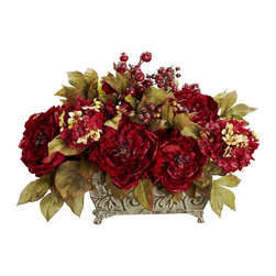 Peony and Hydrangea Silk Arrangement - Provide a warm welcome to the holiday season with this beautiful Peony / Hydrangea arrangement. Bursting blooms of red are surrounded by gold-hued leaves, which provide the perfect backdrop. Lush berries and a stately planter add to the festive look, which will stay fresh year round with nary a drop of water. Makes a great centerpiece. Height= 18 in x Width= 19 in x Depth= 13 in