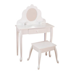 KidKraft - Medium Diva Table & Stool White by Kidkraft - Every little girl needs a vanity table to keep jewelry, brushes and barrettes. KidKraft's White Medium Diva Table and Stool Set is crafted from wood, and is a stylish and pretty focal point for every little girl's room.