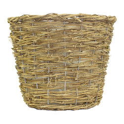 "McCann Brothers extra-Large Vine Basket Planter - McCann Brothers extra-Large Vine Basket Planter. Woven basket planter that fits an 10"" plastic pot. Reinforced with wire for extra support. Pefect for dressing up your favorite plants and flowers creating gift baskets for storage and more. Top diameter: 12.5"" Bottom diameter: 9.0"" Height: 9.75"""