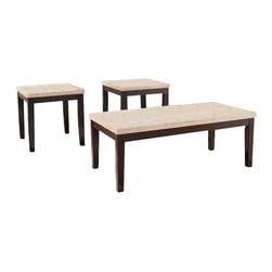 "Signature Design by Ashley - ""3-in-1 Pack"" in Espresso - Cocktail Table w - Includes (1) Cocktail/Coffee Table & (2) End Tables. Faux travertine thick top has a durable polyurethane finish. Balance finished in a dark brown finish. Solid wood legs. Cocktail Table: 48 in. W x 24 in. D x 18 in. H. End Tables: 24 in. W x 22 in. D x 22 in. H. Color/Finish: Espresso"
