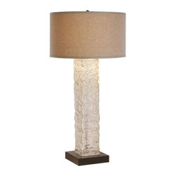 Trend - Apex Table Lamp with Clear Hewn Glass and Latte Linen Shade - -Clear Hewn Glass  -Latte Linen Shade  -Materials: Glass/Fabric Trend - TT7943
