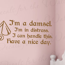 Decals for the Wall - Wall Decal Sticker Quote Vinyl Art Lettering Letter Hercules I'm a Damsel B72 - This decal says ''I'm a damsel. I'm in distress. I can handle this. Have a nice day. -Hercules''
