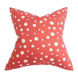 "The Pillow Collection - Bebe Polka Dots Pillow Red White - Complement your contemporary decor scheme with this interesting decor pillow. This 18"" pillow features a white-hued polka dot pattern against a bright red background. This striking decor pillow lends depth and dimension to your living room, bedroom or lounge area. Combine this square pillow with other quirky patterns and bright solids. Made of 100% soft and durable cotton material. Hidden zipper closure for easy cover removal.  Knife edge finish on all four sides.  Reversible pillow with the same fabric on the back side.  Spot cleaning suggested."