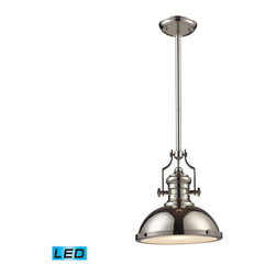 Elk Lighting - EL-66114-1-LED Chadwick LED 1-Light Pendant in Polished Nickel - The Chadwick Collection reflects the beauty of hand-turned craftsmanship inspired by early 20th century lighting and antiques that have surpassed the test of time. This Robust Collection features detailing appropriate for classic or transitional decors. White glass compliments the various finish options including polished nickel, satin nickel, and antique copper. Amber glass enriches the oiled bronze finish. - LED offering up to 800 lumens (60 watt equivalent) with full range dimming. Includes an easily replaceable LED bulb (120V).
