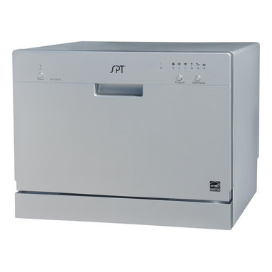 """Sunpentown - Countertop Dishwasher, Silver - Perfect for apartments, office kitchens or any small-sized kitchens; offers full-size power in a compact design. With a height of only 17.24"""", this unit will fit between most countertop and cabinetry. Spacious cavity loads up to six standard place settings. features easy controls, durable stainless steel interior and water temperature up to 148F. Quick connect to any kitchen faucet eliminates the need for direct plumbing or permanent installation ."""