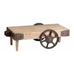 Raw Iron and Natural Wood Industrial Look Cart Table w/ Wheels - *Wilcox Cart Table