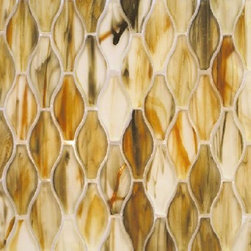 """Silhouette glass tile mosaic by Hirsch - Inspired by ancient story of hourglass, a distinct new Tessera glass shape named Silhouette was created Michael Golden Design, exclusively for Hirsch Glass.  the 3-D color swirl is embedded in this uniquely shaped glass to make this collection stand out of ordinary. Silhouette collection: sheet size: 12.50x13.50  1.17 sq/ft per sheet  1/4"""" thickness"""