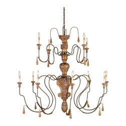 Kathy Kuo Home - Manor Hand carved Wood Grand 12 Light Chandelier - An intricate hand carved wood center and long slim wrought iron arms are combined with all the flair and craft you'd expect to find in an antique French wood chandelier.  Gold leaf details add just enough decadence to this piece of distinctive traditional lighting.